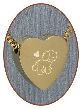 Edelstalen/RVS 'Hond' Hart Ashanger Goudkleur - G304X16