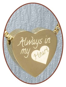 Edelstalen/RVS 'Always in my heart' Hart Ashanger Goudkleur - G304L