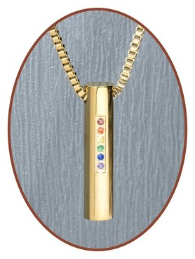 Edelstalen/RVS JB Memorials Premium Gold 'Rainbow' Ashanger - G003
