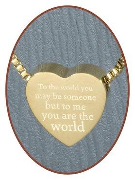 Edelstalen/RVS 'To me you are the world' Hart Ashanger Goudkleur - G304-4