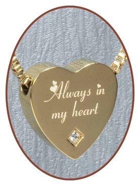 Edelstalen/RVS 'Always in my heart' Hart Ashanger Goudkleur - G304CZ-2