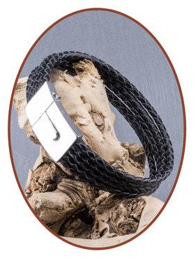 JB Memorials Edelstalen RVS / Leren (As) Armband met vulschroef - VAS001