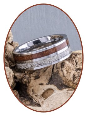 JB Memorials Exclusive Natureline Wood / Tungsten  Houten Ring met As - WR005