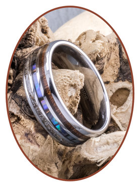 JB Memorials Exclusive Natureline Wood / Abalone Shell Tungsten As Ring - WR006
