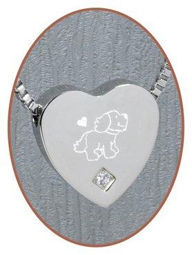 Edelstalen/RVS 'Hond' Hart Ashanger - B304CZ-X16