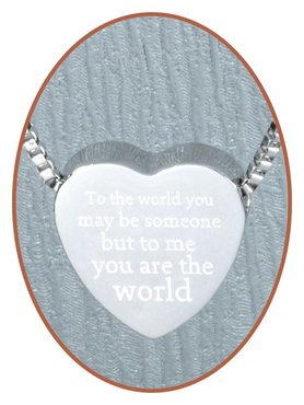 Edelstalen/RVS 'To me you are the world' Hart Ashanger - B304-4