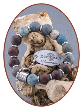 JB Memorials Matte Blue Lace - Red Tiger Eye As Armband - KHA015