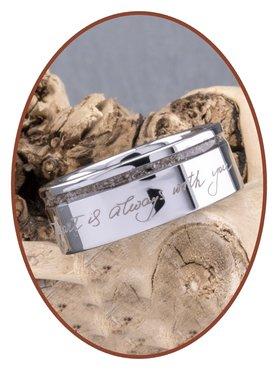 JB Memorials Tungsten Carbide Brede Handschrift Heren As Ring - RB046HH