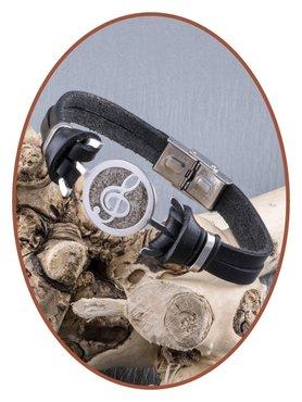 Edelstaal / Leer  G-sleutel As Armband - ASB016
