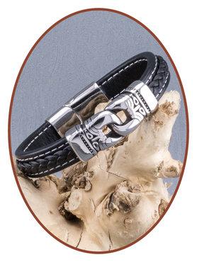 Edelstalen RVS/Leer Heren As Armband - ASB018