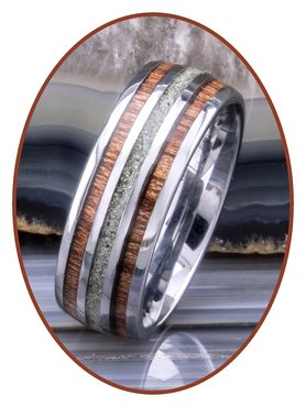 JB Memorials Exclusive Natureline Wood Tungsten As Ring - WR006A