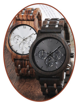 JB Memorials Nature-Line© Houten Heren As Chronograaf Horloge - HORL001