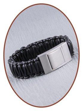 JB Memorials Edelstalen RVS Lederen Gedenk (As) Armband - ZAS013A