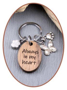 As Sleutelhanger walnoot hout 'Always in my heart' - KS001