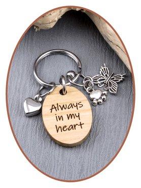 As Sleutelhanger kersen hout 'Always in my heart' - KS002