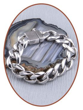 Edelstalen RVS  Heren Vingerafdruk Gedenk Armband - GED006