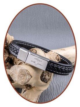 JB Memorials Edelstalen RVS Lederen Gedenk (As) Armband - ASB021