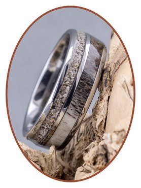 JB Memorials Exclusive Natureline  / Tungsten As Ring met Herten gewei - WR014