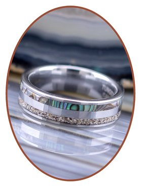 JB Memorials Exclusive Natureline Abalone Shell Tungsten As Ring 6mm - WR008D