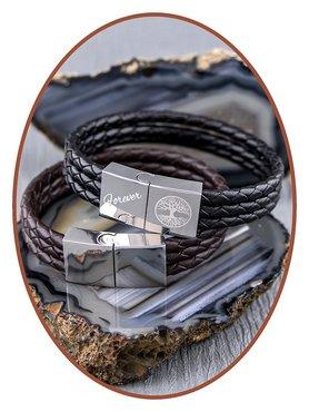 JB Memorials Edelstalen RVS / Leren Graveer Gedenk Armband - ZAS014GE