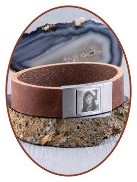 JB Memorials Edelstalen RVS Lederen Foto Gedenk (As) Armband - ZAS005F
