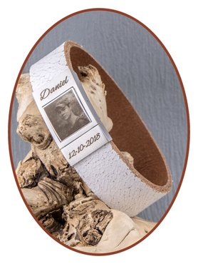 JB Memorials Edelstalen RVS Lederen Foto Gedenk (As) Armband - ZAS016F