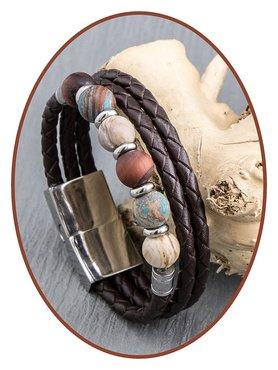 JB Memorials Edelstalen RVS / Leren (As) Kralen Armband met vulschroef - ZAS014K