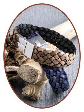 JB Memorials Edelstalen RVS / Leren (As) Armband met vulschroef - VAS001V
