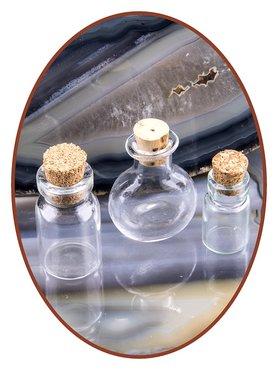 Set van 3 glazen flesjes met kurk - FL001