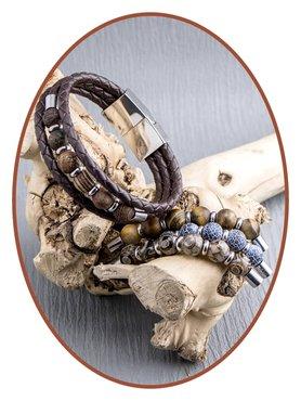 JB Memorials Edelstalen RVS / Leren (As) Kralen Armband met vulschroef - ZAS014X