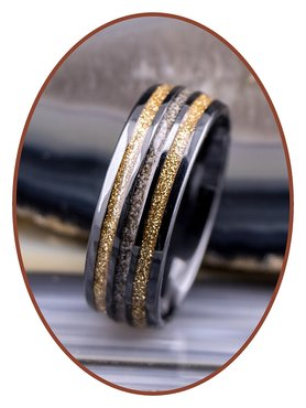 JB Memorials Exclusive Black Ceramic Zirconium As Ring - WR013B