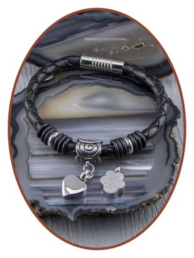 Gevlochten Lederen Dames As Armband - ZMA244