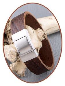 JB Memorials Edelstalen RVS Lederen Gedenk (As) Armband - ZAS052