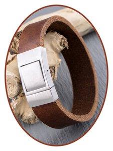 JB Memorials Edelstalen RVS Lederen Gedenk (As) Armband - ZAS054