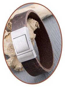 JB Memorials Edelstalen RVS Vintage Lederen Gedenk (As) Armband - ZAS057
