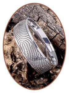 JB Memorials Edelstalen Diep Gegraveerde Gepolijste Vingerafdruk Gedenk Ring - TR007