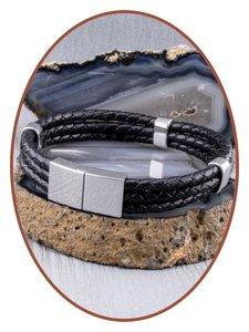 JB Memorials Edelstalen RVS / Leren Graveer (As) Armband met vulschroef - ZAS014H