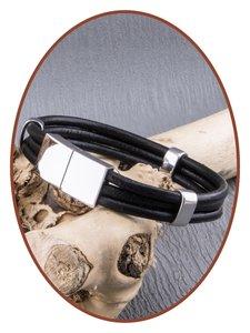 JB Memorials Edelstalen RVS / Leren Graveer (As) Armband met vulschroef - ZAS014HA