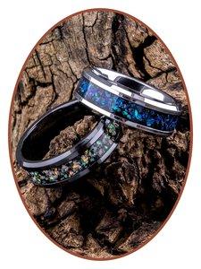 JB Memorials Tungsten Carbide of Black Ceramic Opaal  As Ring - OP400