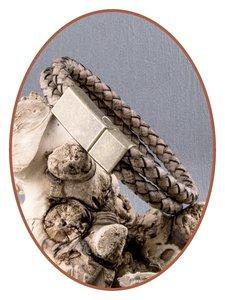 JB Memorials Edelstalen RVS Vintage Bronze Lederen As Armband - ASB024E