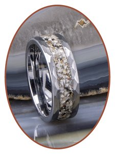 JB Memorials Tungsten Carbide gehamerde Heren As Ring - RB142