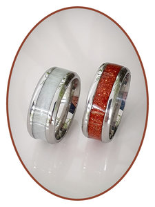 JB Memorials Edelstalen As Ring 'Multi Color Glow' - CRA017