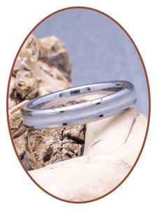 JB Memorials Tungsten Carbide Dames As Ring 'Broken White' 4mm - RB143W