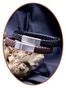 JB Memorials Edelstalen RVS Vintage Lederen As Armband 13mm - ASB024L