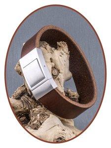 JB Memorials Edelstalen RVS Lederen Gedenk (As) Armband - ZAS007