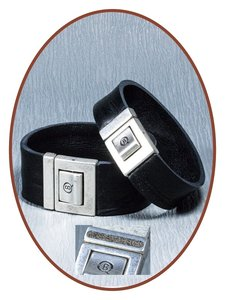 QúeB Memorials  Lederen Special Heren As Armband - ZA007S