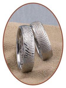 Titanium Gedenk Vingerafdruk Ring - SR004E
