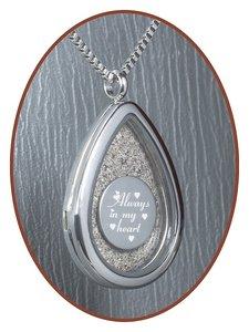 316L Edelstalen JB Memorials 'Traan' Glas Medaillon Ashanger - RSP100A