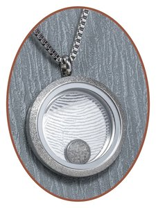 316L Edelstalen JB Memorials 'Vingerafdruk' Glas Medaillon Ashanger - RSP027V