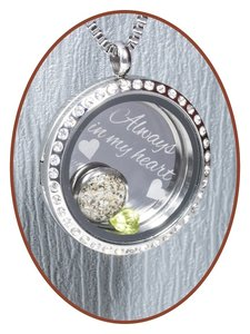 316L Edelstalen JB Memorials Glas Medaillon Ashanger - RSP081